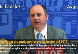 Celestino Vegas pregunta por los presupuestos del 2010