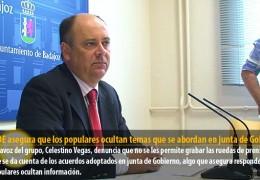El PSOE asegura que los populares ocultan temas que se abordan en junta de Gobierno