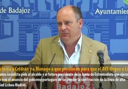 Vegas insta a Celdrán y a Monago a que presionen para que el AVE llegue a Lisboa