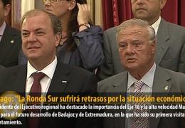 Monago: «La Ronda Sur sufrirá retrasos por la situación económica»