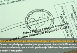 IU pedirá mediante moción que el bus urbano llegue a los poblados los fines de semana