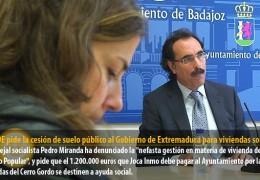 El PSOE pide la cesión de suelo público al Gobierno de Extremadura para viviendas sociales