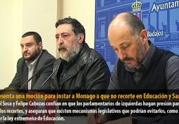 IU presenta una moción para instar a Monago a que no recorte en Educación y Sanidad