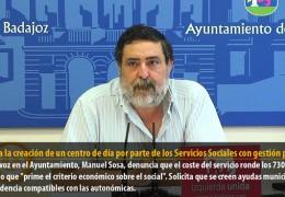 IU critica la creación de un centro de día por parte de los Servicios Sociales con gestión privada