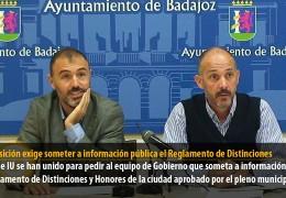 La oposición exige someter a información pública el Reglamento de Distinciones