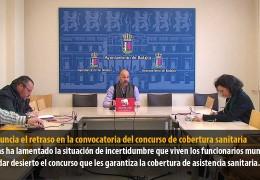IU denuncia el retraso en la convocatoria del concurso de cobertura sanitaria