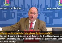 Vegas pide conocer las prioridades del equipo de Gobierno para 2013