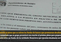 IU propondrá al pleno que se retiren los fondos de bancos que promuevan desahucios