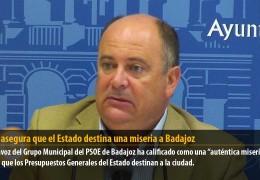 Vegas asegura que el Estado destina una miseria a Badajoz