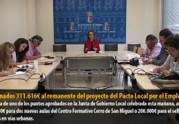 Destinados 311.616€ al remanente del proyecto del Pacto Local por el Empleo