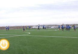 El campo de césped artificial de Gévora ya ha acogido su primer partido