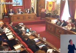 Pleno ordinario de marzo de 2018 del Ayuntamiento de Badajoz
