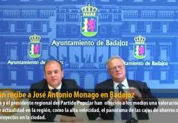 Celdrán recibe a José Antonio Monago en Badajoz