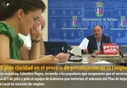 El PSOE pide claridad en el proceso de privatización de la Limpieza