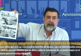 IU exige un mayor compromiso municipal en materia de reciclaje
