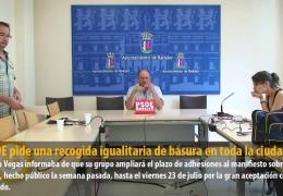 El PSOE pide una recogida igualitaria de basura en toda la ciudad