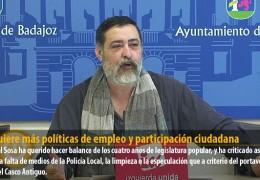 IU quiere más políticas de empleo y participación ciudadana