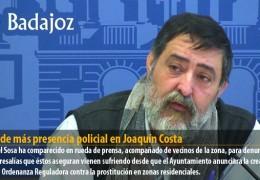 IU pide más presencia policial en Joaquín Costa