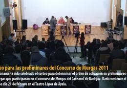 Sorteo para las preliminares del Concurso de Murgas 2011