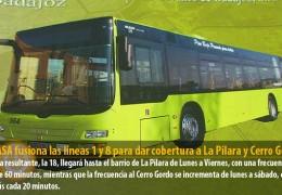 TUBASA fusiona las líneas 1 y 8 para dar cobertura a La Pilara y Cerro Gordo