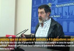 IU denuncia que no se renueve el contrato a 4 trabajadores sociales