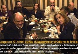 Vegas augura un 2012 difícil y señala al Ayuntamiento y al Gobierno de Extremadura