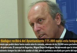 El CD Badajoz recibirá del Ayuntamiento 115.000 euros esta temporada