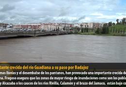 Importante crecida del río Guadiana a su paso por Badajoz
