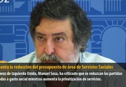 IU lamenta la reducción del presupuesto del área de Servicios Sociales